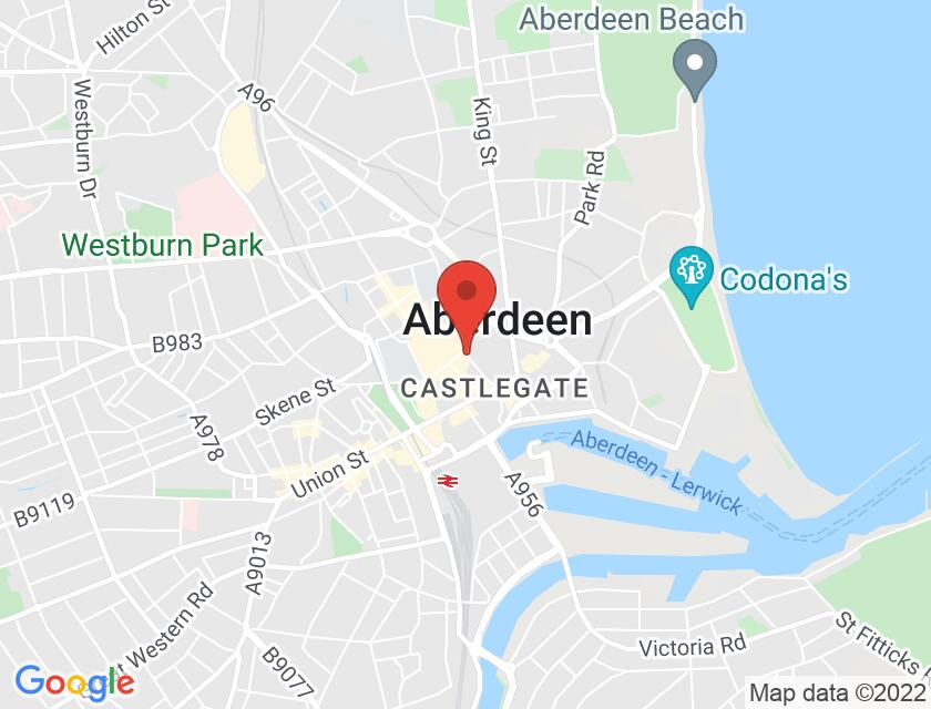 Google map static shot of Marischal College, Aberdeen, AB10 1YS