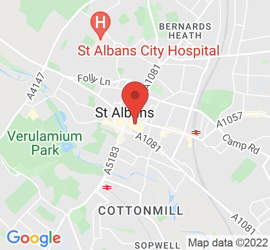 Google map static shot of The Maltings Arts Theatre, St Albans, Hertfordshire, AL1 3HL