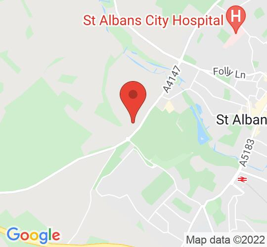 Google map static shot of Roman theatre of Verulamium, St Albans, AL3 6AD