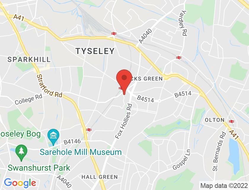 Google map static shot of Hall Green Little Theatre (Veitch), Acocks Green, B27 7RY