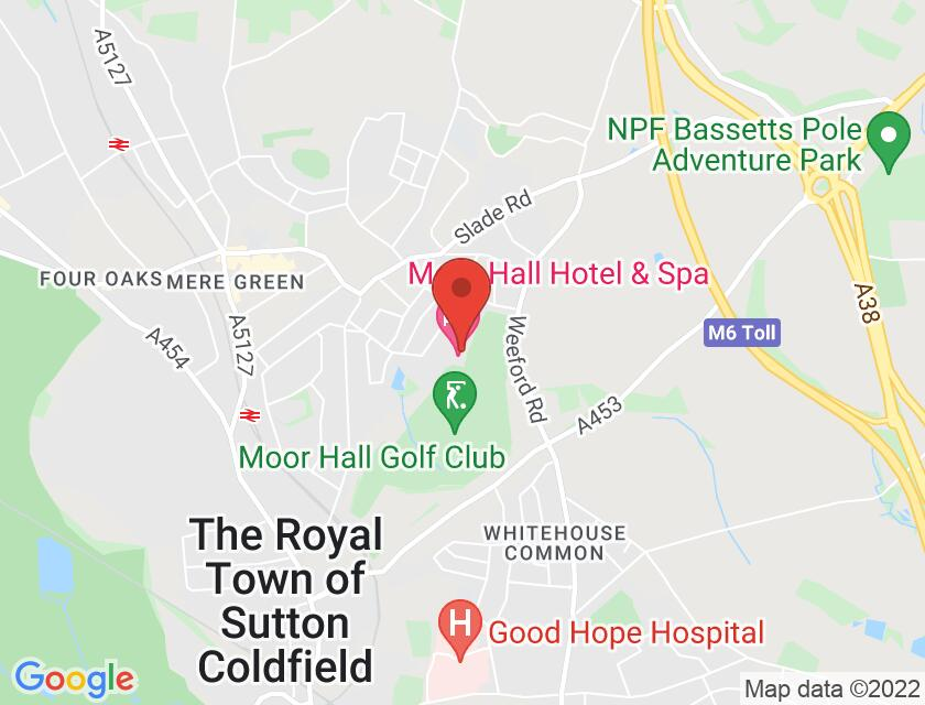 Google map static shot of Moor Hall Hotel & Spa, Sutton Coldfield, B75 6LN