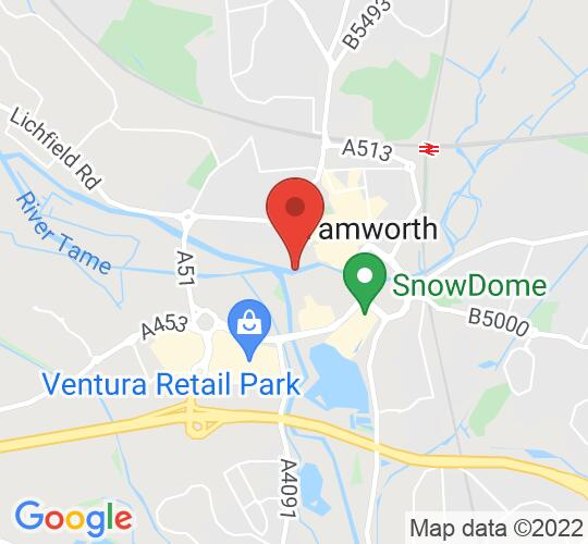 Google map static shot of Tamworth, CASTLE GROUNDS, B79 7NA