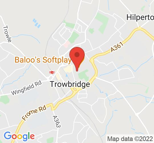Google map static shot of Town Hall Arts, Trowbridge, BA14 8EQ