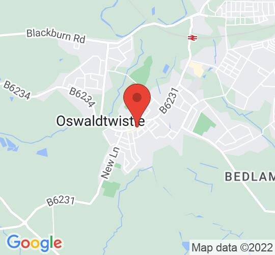 Google map static shot of Oswaldtwistle Library, Accrington, BB5 3HS