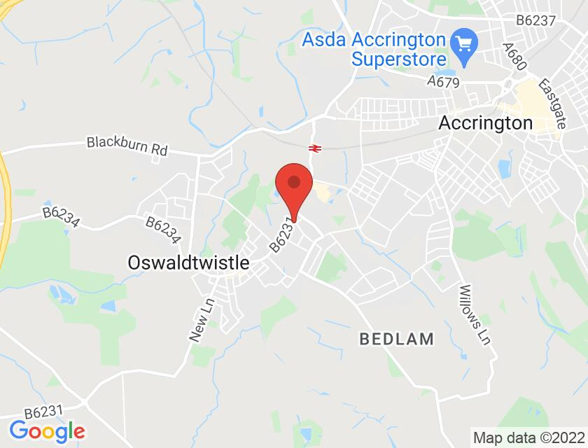 Google map static shot of Civic Arts Centre & Theatre, Oswaldtwistle, BB5 3HZ
