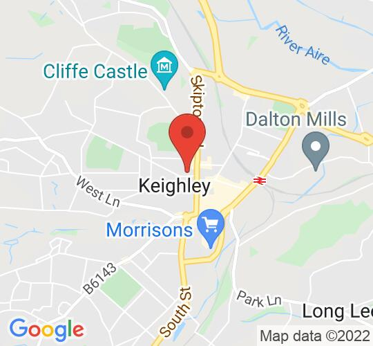 Google map static shot of Keighley Library, Keighley, BD21 2AT