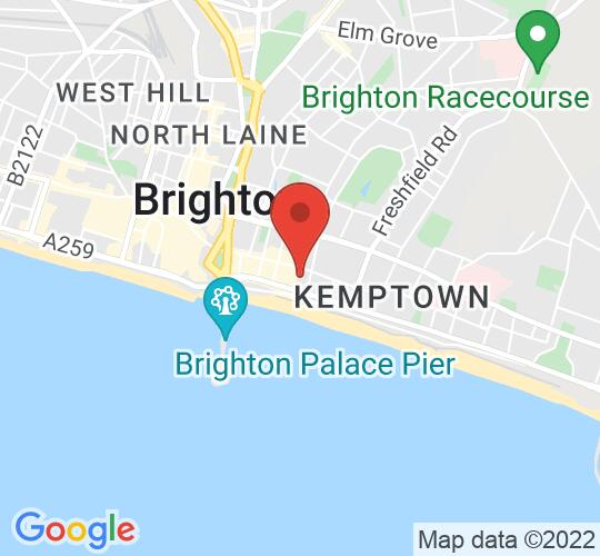 Google map static shot of The Lantern Theatre Brighton, 8-10 Rock Place, BN2 1PF