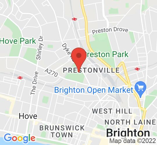 Google map static shot of Brighton Open Air Theatre (B.O.A.T.), 1, BN3 6EH