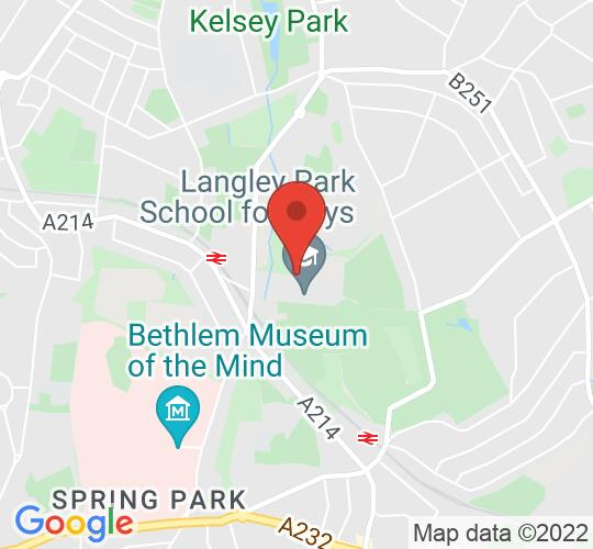 Google map static shot of Langley Park Centre for the Performing Arts, Beckenham, BR3 3BP
