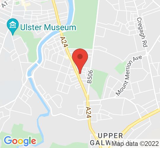 Google map static shot of The Errigle Inn, Belfast, BT7 2GE