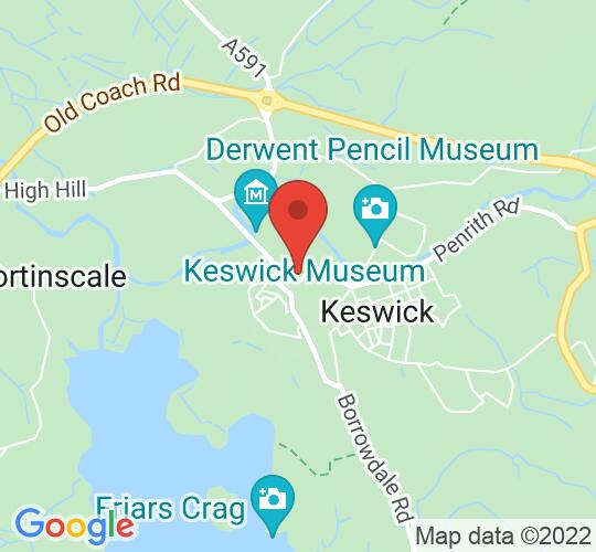 Google map static shot of Keswick Moot Hall, Cumbria, CA12 5JS