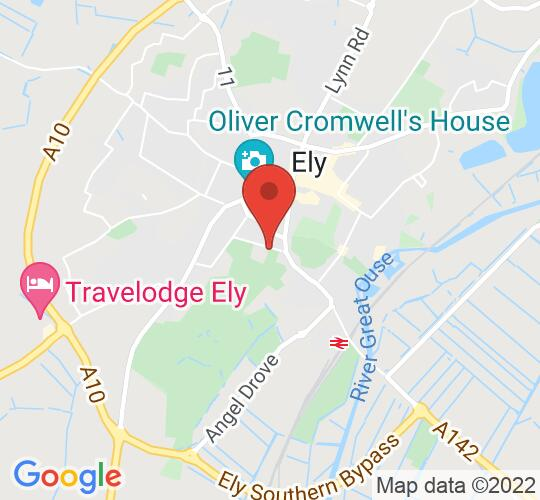 Google map static shot of King's Ely Old Palace Gardens, PLEASE USE CATHEDRAL GALLERY ENTRANCE, CB7 4DB