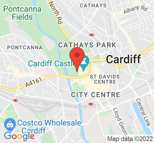Google map static shot of Cardiff Castle, Cardiff, CF10 3RB