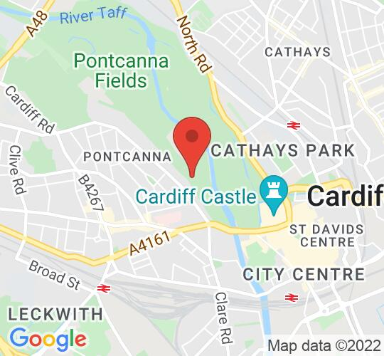 Google map static shot of Sophia Gardens, Cardiff, CF11 9HW