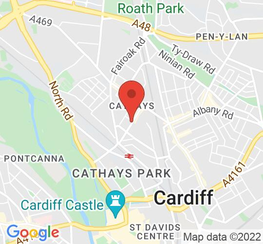 Google map static shot of St Andrews and St Teilo's Church, Cardiff, CF24 4DX