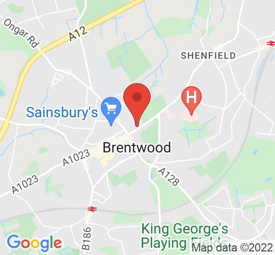 Google map static shot of Brentwood Theatre, Brentwood, CM15 8AG