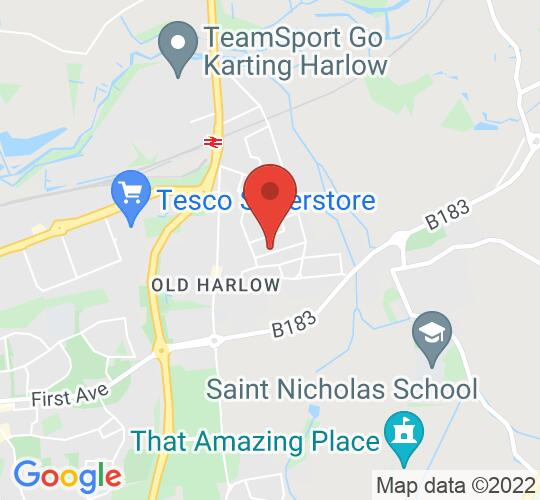 Google map static shot of The Victoria Hall Theatre, Old Harlow, Harlow, CM17 0ED