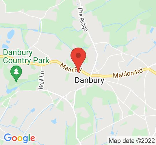 Google map static shot of Danbury Village Hall, Essex, CM3 4NQ
