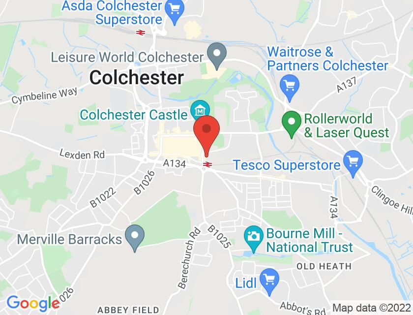 Google map static shot of St Botolphs Church,, Colchester, CO2 7EE