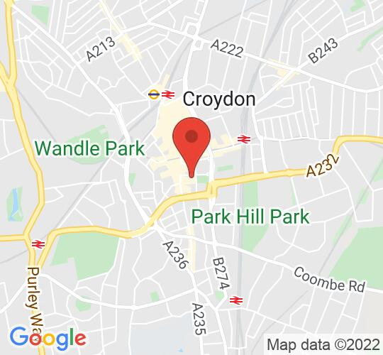 Google map static shot of David Lean Cinema, Croydon, CR9 1ET