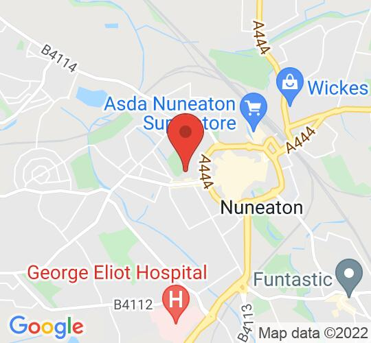 Google map static shot of Abbey Theatre, Nuneaton, CV11 5DB