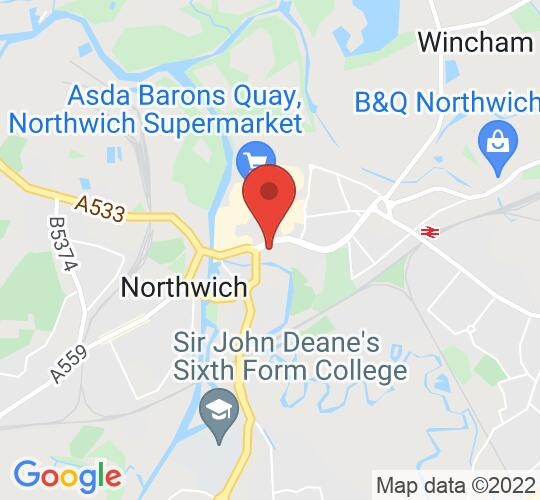 Google map static shot of Northwich Memorial Court, Cheshire, CW9 5QJ