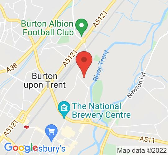Google map static shot of The Tower Brewery, Burton on Trent, DE14 1 PZ