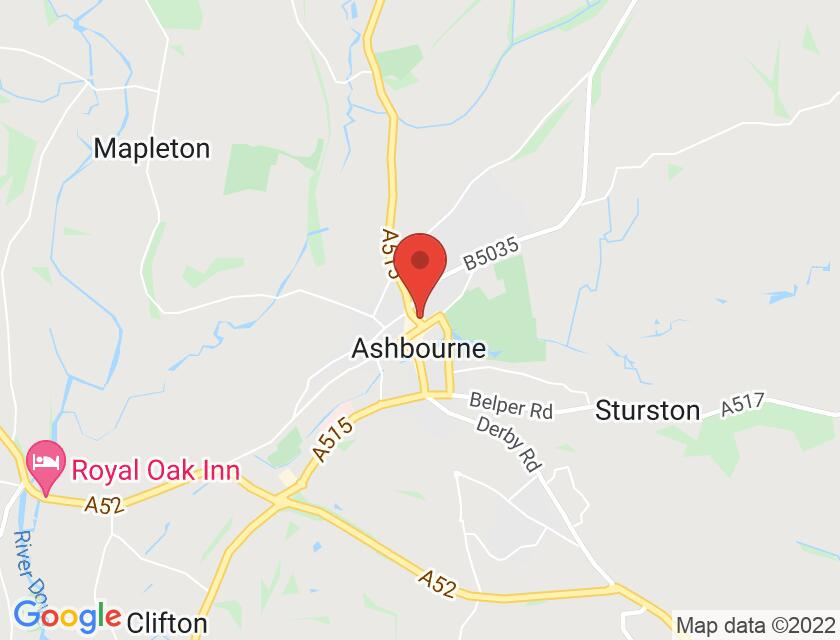 Google map static shot of Ashbourne Town Hall, Derbyshire, DE6 1ES