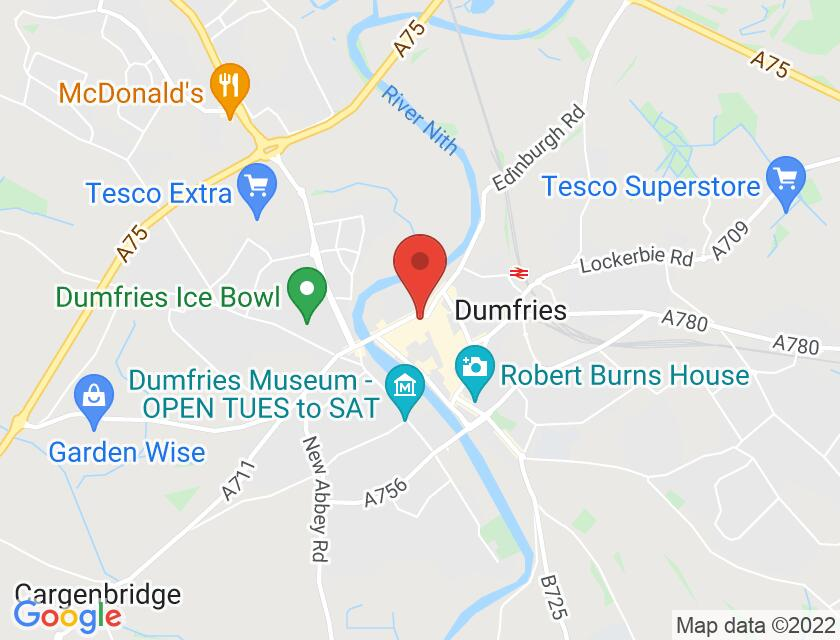 Google map static shot of Burns Statue, Dumfries and Galloway, DG1 1BJ