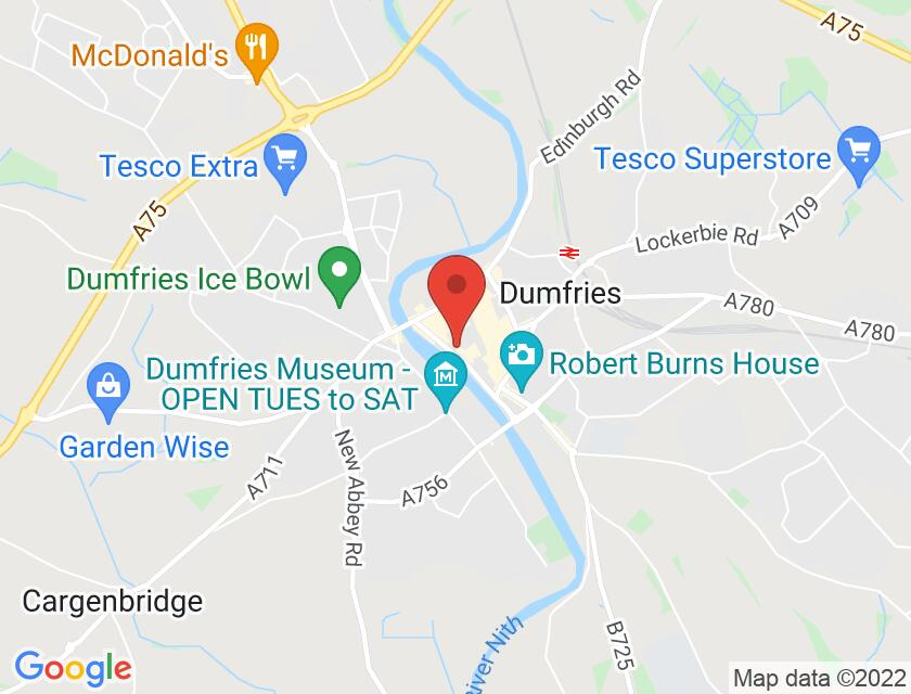 Google map static shot of Coach and Horses (Bus Pick Up Point), Dumfries, DG1 2RS