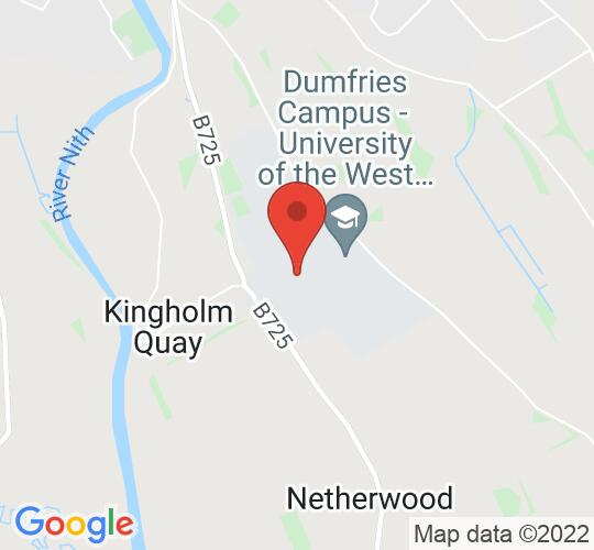 Google map static shot of Easterbrook Hall, Dumfries, DG1 4TA
