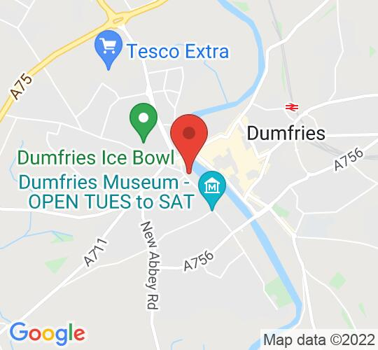 Google map static shot of Robert Burns Centre Film Theatre, Dumfries, DG2 7BE