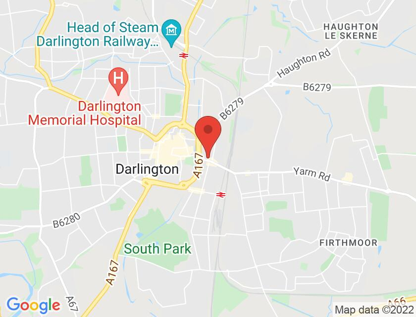 Google map static shot of Darlington Hippodrome, Darlington, DL1 1RR
