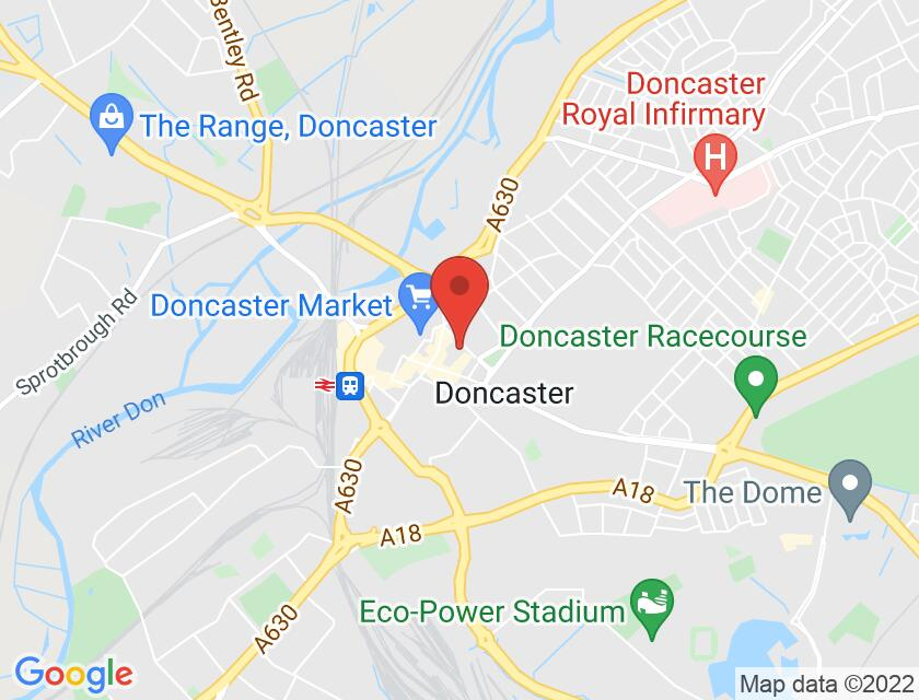 Google map static shot of Doncaster Little Theatre, South Yorkshire, DN1 1JD