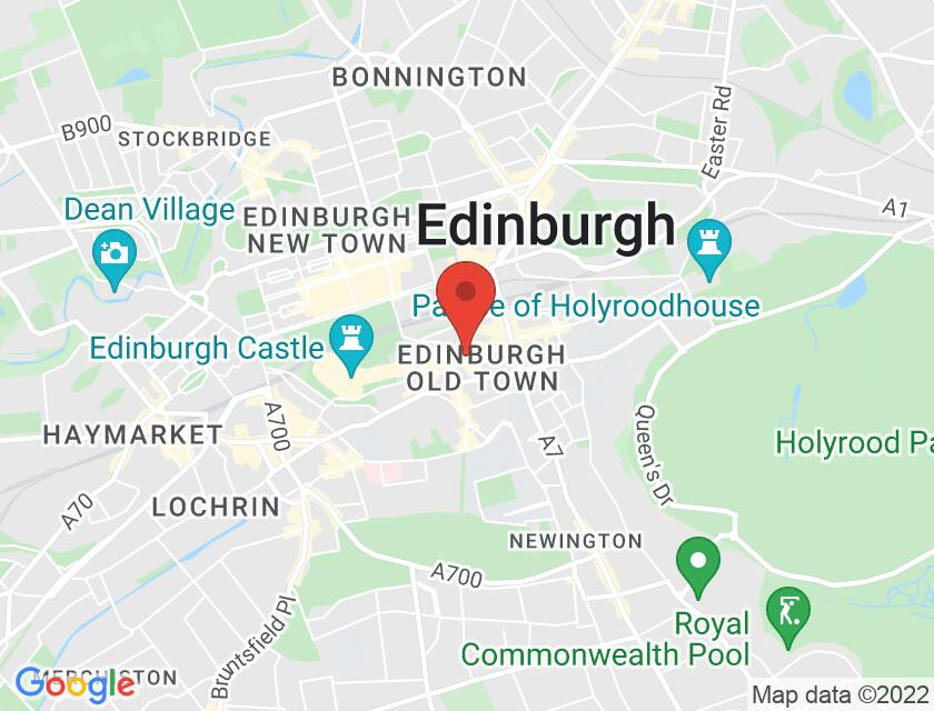 Google map static shot of St Giles' Cathedral, Edinburgh, EH1 1RE