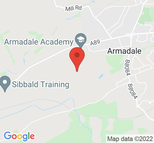 Google map static shot of Armadale Academy, West Lothian, EH48 3LY
