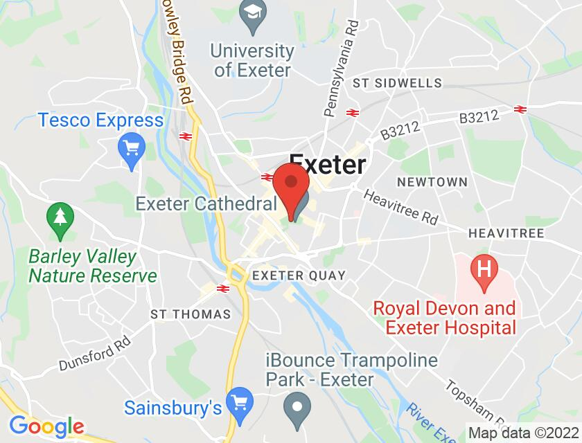 Google map static shot of Exeter Cathedral, Exeter, EX1 1HS