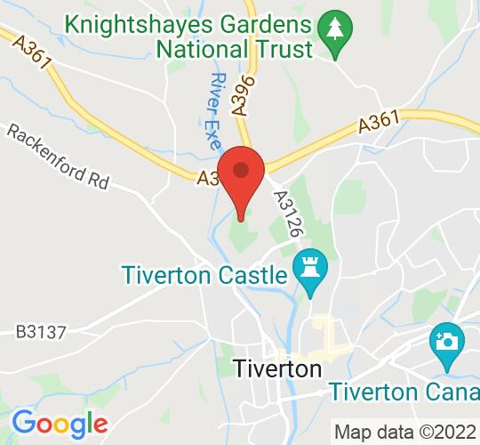 Google map static shot of Tiverton Community Arts Theatre, Devon, EX16 6SQ
