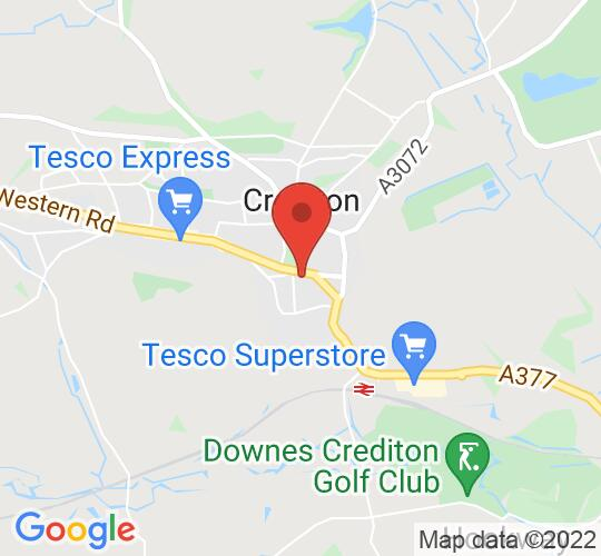 Google map static shot of Crediton Art Centre, Devon, EX17 3AX
