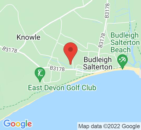 Google map static shot of Public Hall, Budleigh Salterton, EX9 6RJ