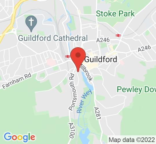 Google map static shot of St Nicolas' Church, Guildford, GU2 4AW