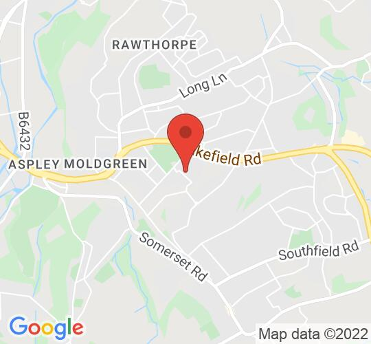 Google map static shot of Almondbury Library, Huddersfield, HD5 8DT