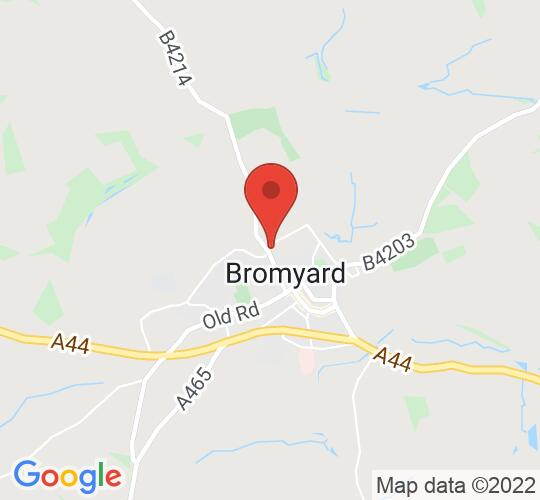 Google map static shot of Conquest Theatre, Bromyard, HR7 4LL