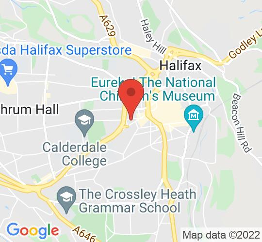 Google map static shot of Halifax Playhouse, West Yorkshire, HX1 2SH