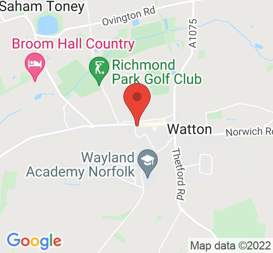 Google map static shot of Watton High Street, Watton, IP25 6EJ
