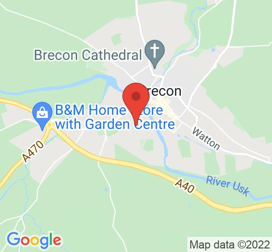 Google map static shot of Y Neuadd Goffa - The Memorial Hall, Christ College, Brecon, LD3 8AF