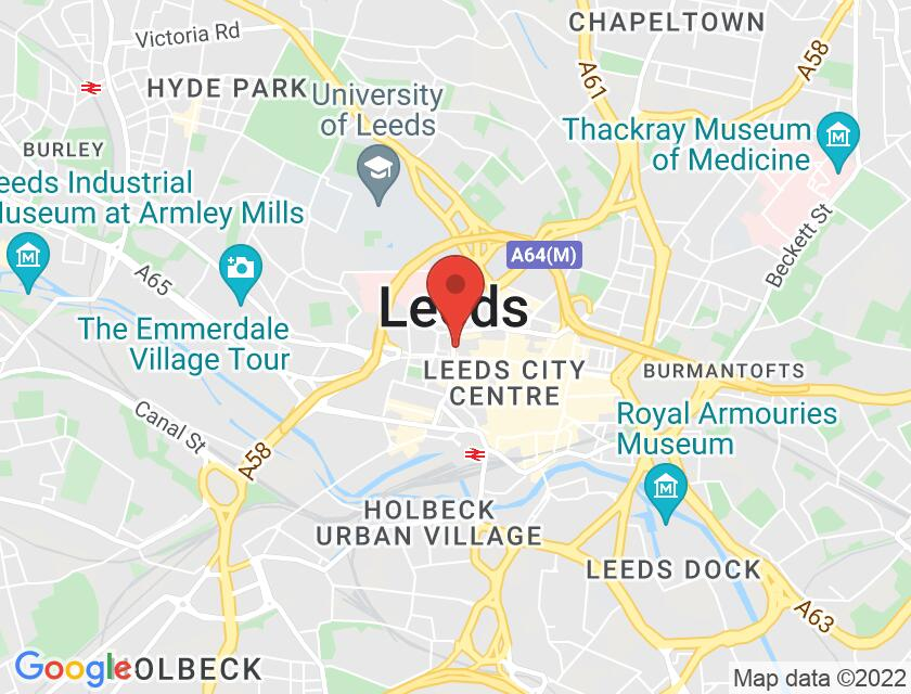 Google map static shot of Leeds Central Lending Library, Leeds, LS1 3AB