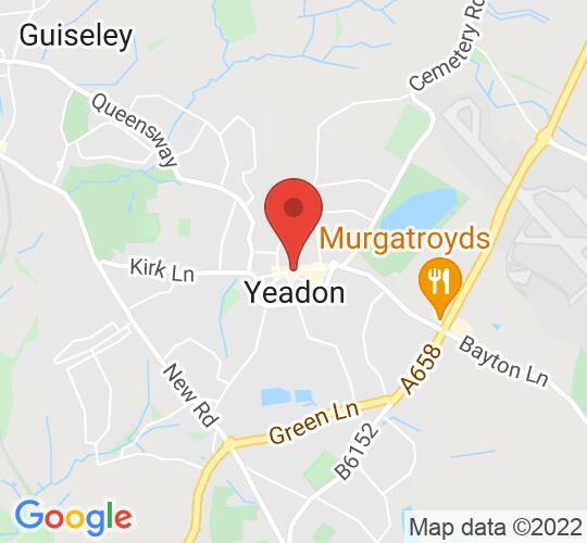 Google map static shot of Yeadon Town Hall, Leeds, LS19 7PP