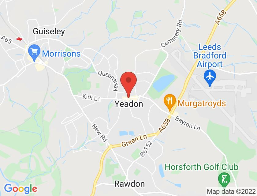 Google map static shot of Yeadon Town Hall, Yeadon, LS19 7PP