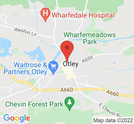 Google map static shot of Otley Courthouse Arts Centre, Otley, LS21 3AN